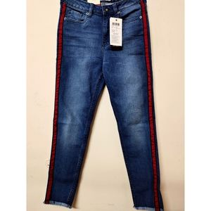 Washed Ankle-Length Jeans Contrast Side Taping